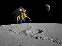 A lunar lander begins its descent to the moon's surface from an altitude of 40,000 feet Poster Print PSTWMY100041SLARGE