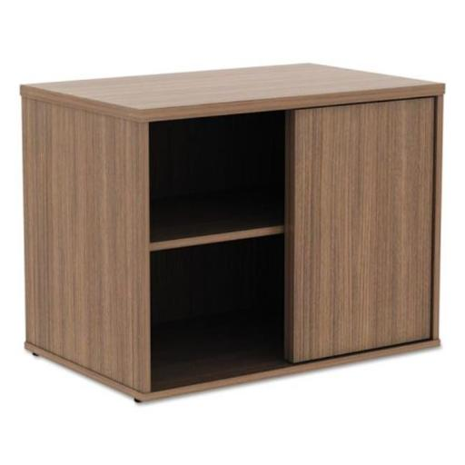 22.86 H x 29.5 W x 19.12 D in. Open Office Low Storage Cabinet Credenza - Walnut