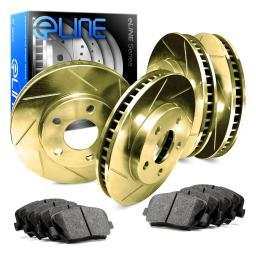 [COMPLETE KIT] Gold Edition Slotted Brake Rotors & Ceramic Brake Pads