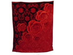"""Floral Embossed Winter Decorative Soft Thick Warm Bed Blanket Throw BLACK (76.5""""-91"""")"""