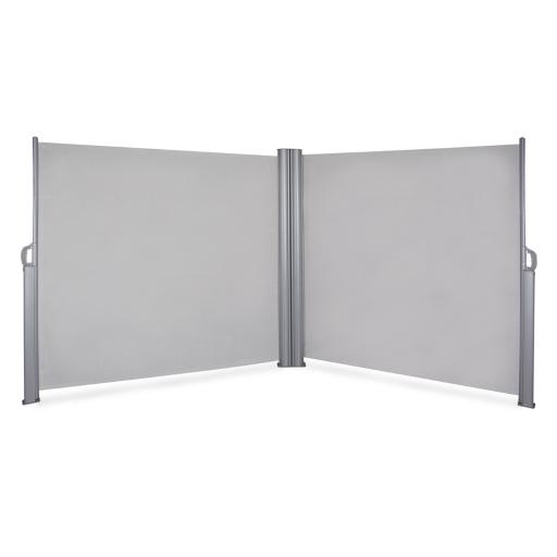 BELLEZE Folding Retractable Double Privacy Wall Patio Garden Screen Divider with Steel Support Pole, Gray