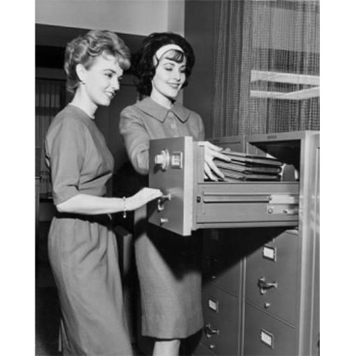 Posterazzi SAL25548408 Two Female Office Workers Arranging Files in Filing Cabinet Poster Print - 18 x 24 in.