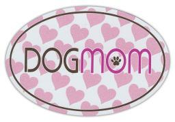 "Dog Mom With Hearts Magnet Dog 4"" x 6"" Oval Shaped Dogmom Cute Puppy Mommy Love"