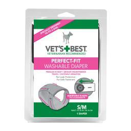Vet'S Best 3165810417 Gray Vet'S Best Perfect-Fit Washable Female Dog Diaper 1 Pack Small / Medium Gray 5.44 X 1.75