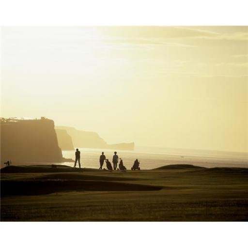 Posterazzi DPI1798785LARGE Ballycastle Golf Club Co Antrim Ireland - Silhouetted People Playing Golf Poster Print by The Irish Image Collection, 32 x