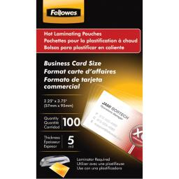 Fellowes(r) 52031 business card laminating pouches, 100 pk