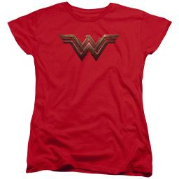 Batman Vs Superman Ww Shield Womens Short Sleeve Shirt Red SM