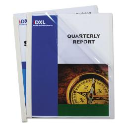 """Report Covers With Binding Bars Vinyl Clear 1/8"""" Capacity 50 Per Box   1 Box of: 50"""