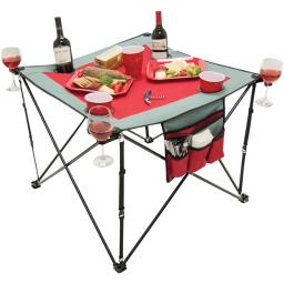 Creative Outdoor Distributor(tm) 820117 Folding Wine Table With Cupholders & Wineglass Holders (gray/burgundy)