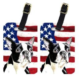 Carolines Treasures SC9001BT Pair Of USA American Flag With Boston Terrier Luggage Tags