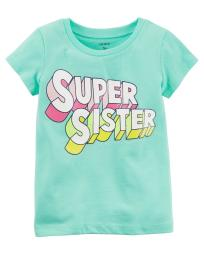 Carter's Baby Girls' Super Sister Jersey Tee, Mint Green, 6 Months