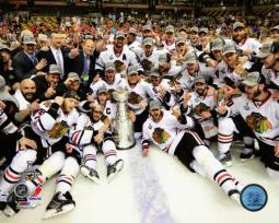 The Chicago Blackhawks celebrate winning Game 6 of the 2013 Stanley Cup Finals Photo Print PFSAAQA08101