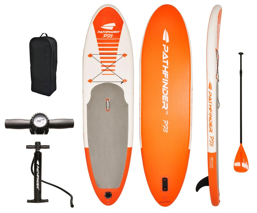 PathFinder Inflatable SUP Stand Up Paddle Board, Comlete KIT: Board, Fin, Pump, Paddle & Carry Bag
