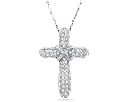 1/8 Carat (ctw J-K, I2-I3) Diamond Cross Pendant Necklace in 10K White Gold with Chain