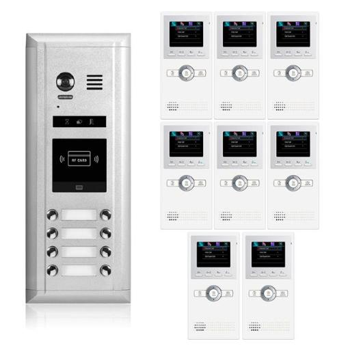 2Easy Video Intercom System 1365-N DK1681 Video Intercom Entry System-8 Apartment Audio & Video Kit