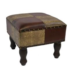International Caravan YWLF-2529-MX 16 in. Faux Leather Square Stool, Mixed Patch Work