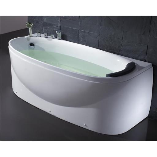 White Left Drain Acrylic 6 ft. Soaking Tub with Fixtures