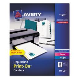 Customizable Print-On Dividers 8-Tab Letter 5 Sets   1 Pack of: 5