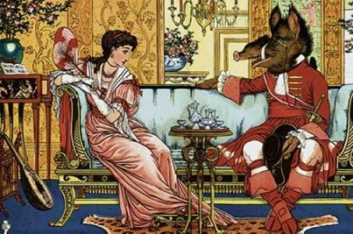 Beauty and the Beast - The Courtship Poster Print by Walter Crane