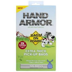 Bags On Board 3203940030 Blue Bags On Board Hand Armor Pick-Up Bags With Anti-Yuck Protection 100 Count Blue