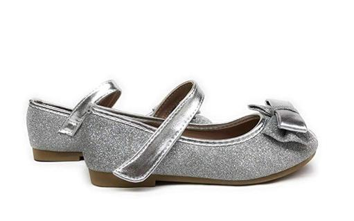 ec3b07c015 New Girls Rose Gold Silver Glitter Metallic Flats Dress Shoes Mary Jane  Round...