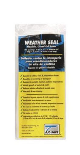 Outland Ac-401 Window Air Conditioner Weather Seal, White .Highlights:.Reduces window vibrations .Non-toxic, weatherproof .Plastic foam .Cut to size .Color: White.Dimensions: 40  x 1.25  x .50  .Polybagged .