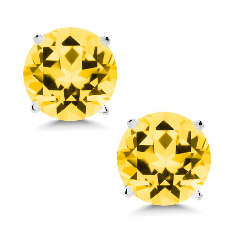 14K White Gold Earrings Set with Round Honey Topaz from Swarovski