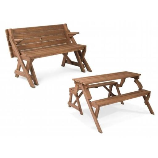 Leisure Season FPTB7104 Folding Picnic Table & Bench- Brown