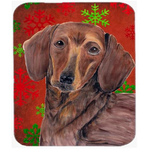 Dachshund Red And Green Snowflakes Christmas Mouse Pad, Hot Pad Or Trivet