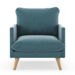 NyeKoncept 50090410 Bowie Armchair Mod Velvet - Steel Blue with Natural Finish