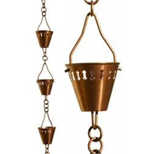 Patina Products R279H Copper Shade Cup Rain Chain - Half Length