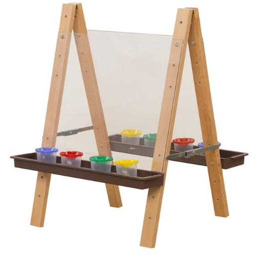 Wood Designs 17523BN Tot Size Double Acrylic Easel with Brown Trays