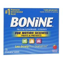 Bonine Chewable Tablets For Motion Sickness Raspberry Flavored