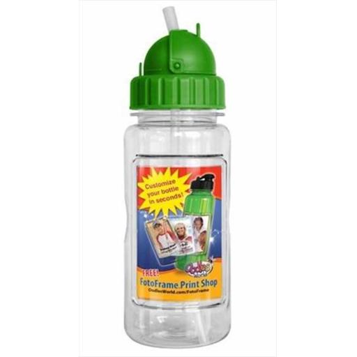 Oodles World 108778 Water Bottle 14 Oz With Straw & Fotoframe Green