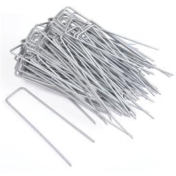 """Yescom 6"""" Landscape SOD Staples 11 Gauge Galvanized Garden Stakes Weed Barrier Pins (Pack of 100)"""