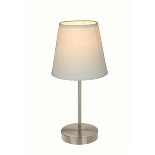 All The Rages LT2013-WHT Sand Nickel Basic Table Lamp with White Shade
