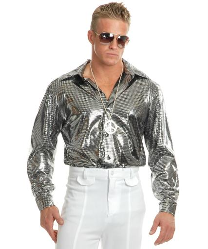 Men's Silver Nail Head Disco Shirt Silver, Silver and Black Men M (40-42),Men 1X (48-52),Men 3X (56-60),Men L (42-44),Men S (36-38),Men XL.