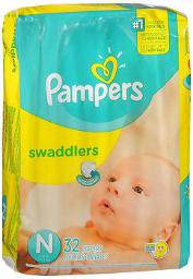 Pampers Swaddlers New Baby Diapers Size Newborn - 4 packs of 32, Pack of 2