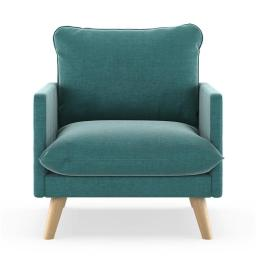 NyeKoncept 50090440 Bowie Armchair Mod Velvet - Blue Topaz with Natural Finish
