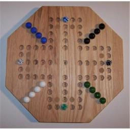 Charlies Woodshop W-1927.1 18 in. Octagon Oiled AggravationWooden Marble Game Board with 8 Birch Inlaid Spots, Red Oak - 4 Player - 5 Hole
