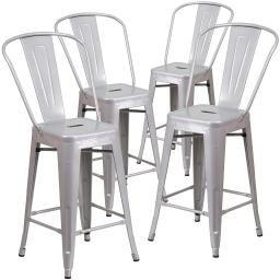 Belleze (4-PC) 24'' High Silver Indoor-Outdoor Counter Height Stool with Back