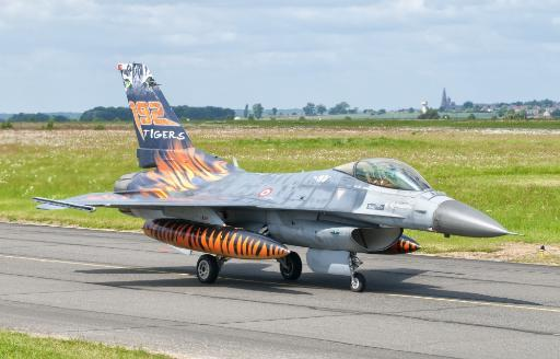 A Turkish Air Force F-16C Fighting Falcon on the flight line at Cambrai Air Base, France, during NATO Tiger Meet 2011 Poster Print