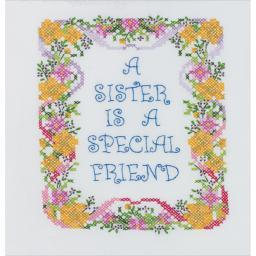 """A Sister Is A Special Friend Stamped Cross Stitch Kit-7""""x9"""""""