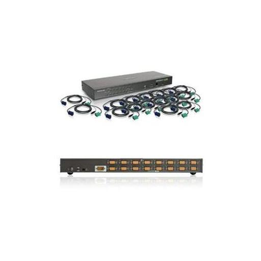 IOGEAR Rackmount 8-Port KVM Switch Console with 17-inch TFT LCD Active Matrix Monitor GCL1808KITU Keyboard and Touchpad w//Full Set of Cables