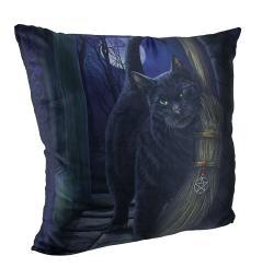 Lisa Parker's A Brush With Magick Black Cat and Broom Throw Pillow 20 Inch