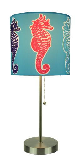 Brushed Nickel Finish Coastal Table Lamp With Multicolor Seahorse Shade