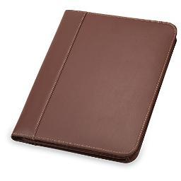 Samsill 71726 leather zip padfolio brown