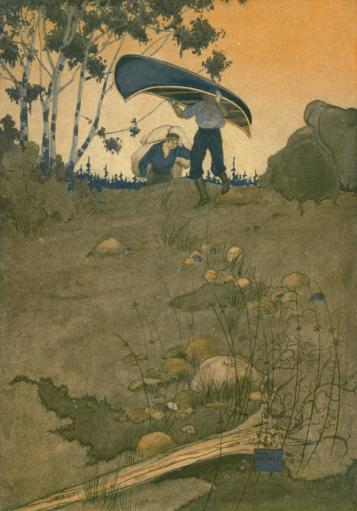 Canoeing in the Wilderness 1916 Carrying the canoe Poster Print by Will Hammell