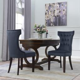 Belleze Set of 2, Black Premium Dining Chairs Side Room Fabric Indoor w/ Nailhead
