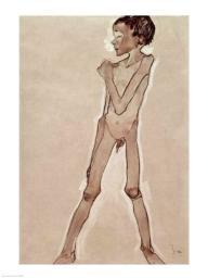 Nude Boy Standing Poster Print by Egon Schiele BALBAL53603LARGE
